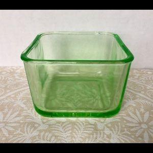 Vintage Depression Uranium Glass Square Bowl